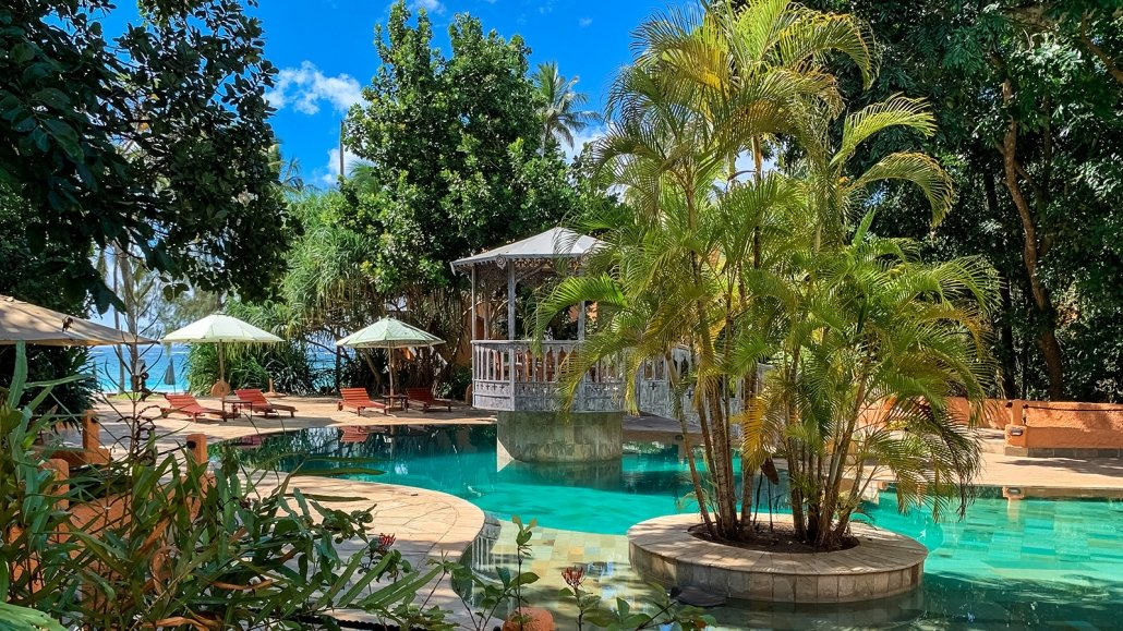 Swimming pool at luxurious boutique hotel on Diani Beach