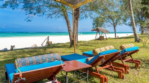 Boutique Hotel private garden facing Diani Beach
